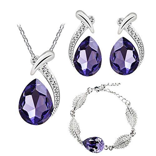 Yosemite - Juego de Collar y Pendientes de Gota de Agua con Incrustaciones de Diamantes de imitación, Color Morado Oscuro, 3 Unidades