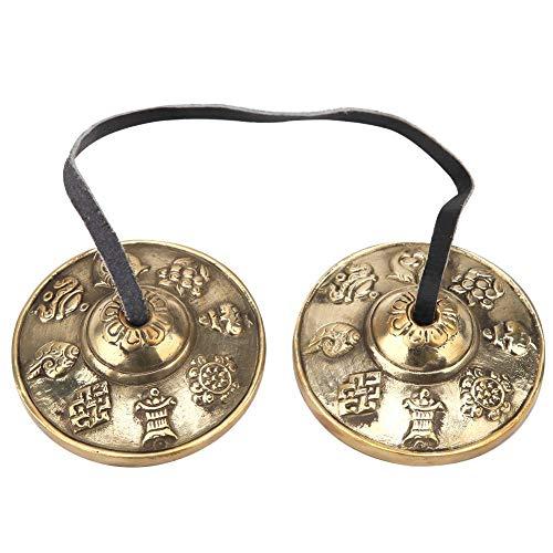 Campana de meditación tibetana Hecho a mano Budista Símbolo afortunado Meditación en relieve Campana de yoga Campanas Instrumento de percusión(#1)