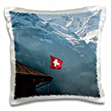 3dRose Flag, Mountains, Murren, Jungfrau, Switzerland Eu29 Mde0022 Michael De Freitas Kissenbezug, Satin, Weiß, 16 x 16