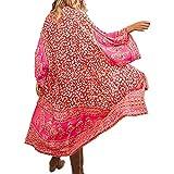 Tyidalin Cárdigans Mujer Florales Largo Vestido Playa Verano Kimono Gasa Maxi Camisolas y Pareos Bohemio (Color 4, Talla única)