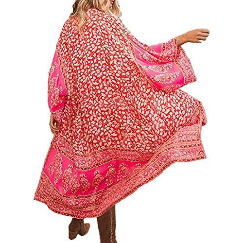 Tyidalin Femme Cardigan Plage Paréo Robe Kimono Maxi Longue Eté Mousseline Cache-Maillot de Bain Imprimé (Couleur 4, Taille Unique)