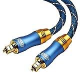 Cable de Audio Óptico Digital Toslink SPDIF Cable de Audio para Cine en Casa, Barra de Sonido, TV, PS4, Xbox One, Playstation, DVD (Metal Azul OD6.0-1.5M)