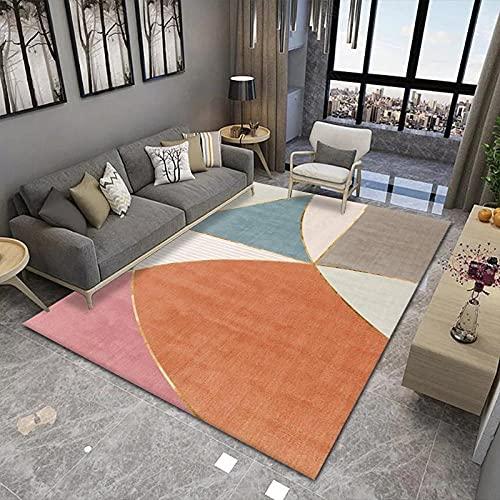 VBUEFM Alfombra Irregular Geométrico Naranja, Blanco y Azul Design Alfombra De Salón...