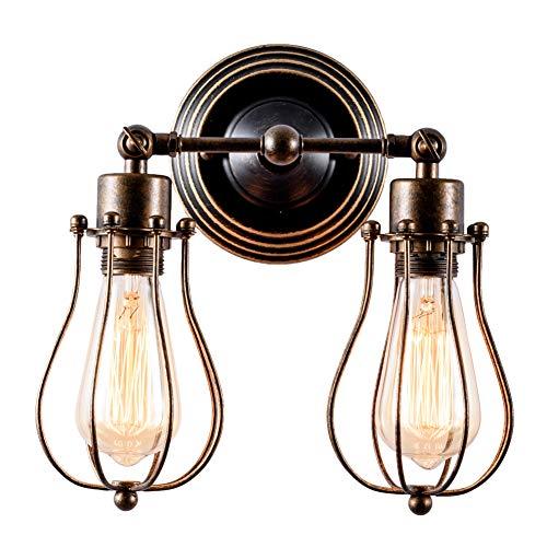 Wandlampe Retro Verstellbar Metall Wandlampe Antik Wandlampe Vintage Lampen Landhausstil für Landhaus Schlafzimmer Wohnzimmer Esstisch (Bronze)