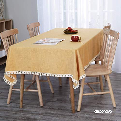 Deconovo Mantel Rectangular de Cocina Moderno Efecto Lino Tela Decorativo 130x220cm Blanco