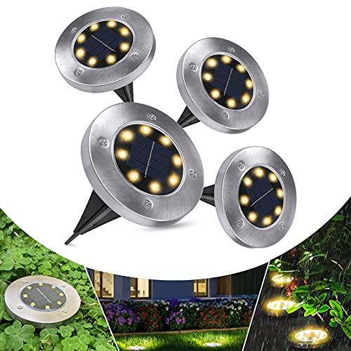 Solarleuchten für außen, Solarlampen für Außen Garten Solarlampen IP65 Wasserdicht Solar Gartenleuchten, Gartenbeleuchtung für Gärten, Innenhöfe, Rasenflächen, Terrassen (4 Stück)