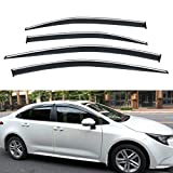 PLDDE 4x Smoke Tint With Chrome Trim Outside Mount Tape On/Clip On Style PVC Sun Rain Guard Vent Window Visors Replacement for 2020 Toyota Corolla 4-Door Sedan
