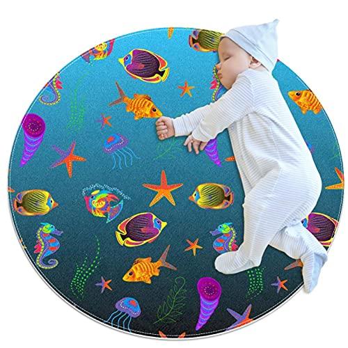 JHKHJ Alfombra de cocina lavable entrada alfombra escritorio alfombra baño acento alfombra color pescado 100x100cm