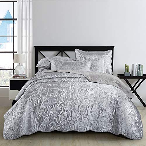 3 Piece Quilted Bed Throw - Grey Bedspread Double Bed (220x240 cm) + 2...