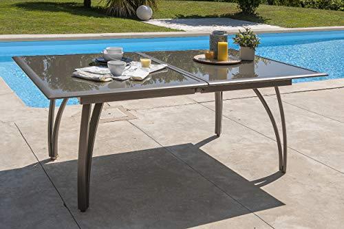 DCB GARDEN T1824-CAPPUCCINO Table alu Cappuccino rallonge Papillon 180/240, 180x110x73 cm