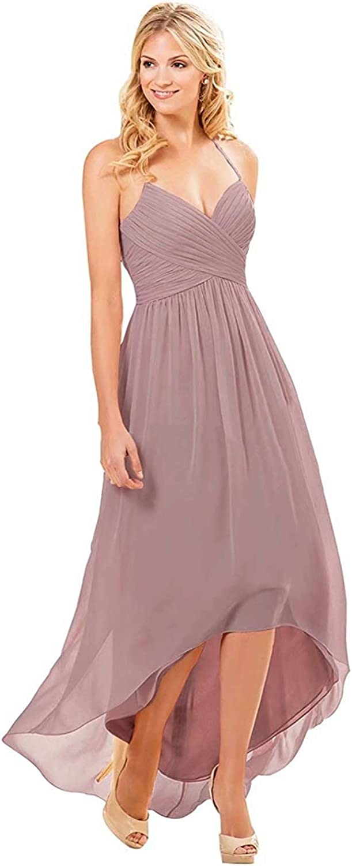zhuluokeke V-Neck High Low Bridesmaid Dresses San Francisco Mall Inventory cleanup selling sale Long Maid Chiffon