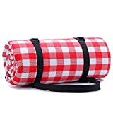 Simpeak 200x150cm Large Picnic Mat Pad Waterproof Mat, Red and White Plaid Premium