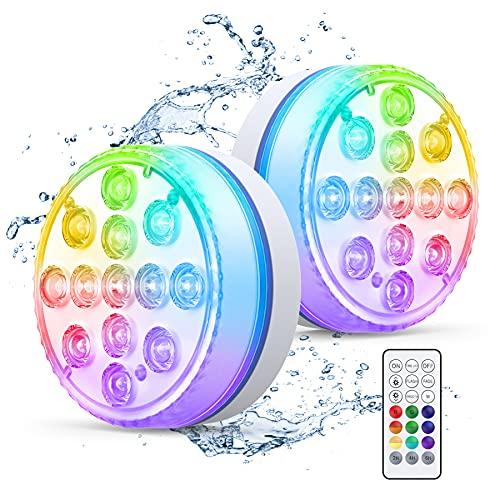 Smarich Unterwasser Licht, IP68 Wasserdichtes Poolbeleuchtung mit RF Fernbedienung, RGB Multi Farbwechsel LED Unterwasserlicht mit 13 LEDs, Pool Licht für Schwimmbad, Vasenbasis, Aquarium (2 Stück)
