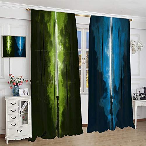 DRAGON VINES Y-o-da Anakin Lightsaber Luke Red LightsaberDarth Vader Modern Decorative Curtains for College Dormitory Insulation curtain 85x85inch(214x214cm)