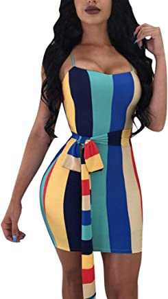 9b54e17daad7 Women Tank Vest Dress Summer Bodycon Dress Mini Skirts Slim Fit Belt  Camisole Dress by Gyouanime