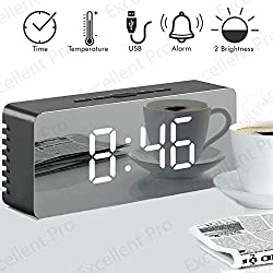 Alarm Clock, LED Mirror Display Digital Alarm Clock with Dimmer, Snooze, Temperature Function for Bedroom Office Travel