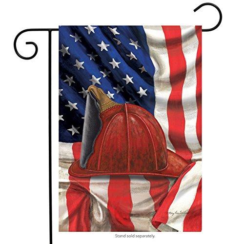 Briarwood Lane Fireman Helmet Garden Flag Emergency Services Firemen Patriotic 12.5 x 18