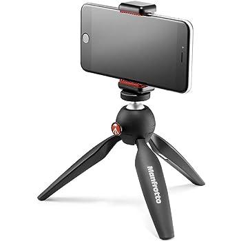 Manfrotto PIXI Mini Tripod Kit with Universal Smartphone Clamp, Black (MKPIXICLAMP-BK)
