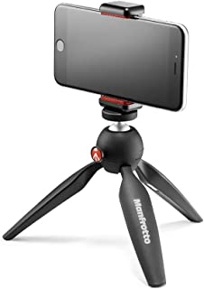 Manfrotto Pixi MKPIXICLAMP-BK Lightweight Mini Tripod Black with Universal Smartphone Clamp, Black