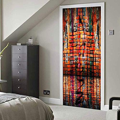 LOSAYM 3D Türaufkleber Dekoration 3D Tür Aufkleber (Graffiti Wall) Wandbilder Wallpaper Für Schlafzimmer Wohnzimmer Home Decoration Abnehmbare wasserdichte Selbstklebende Aufkleber-77cm(W)*2