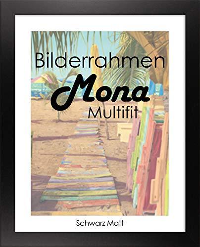 Homedeco-24 Bilderrahmen Mona MULTIFIT 80 x 120 cm Farbe Schwarz matt mit weißer Rückwand und Acrylglas klar 1mm