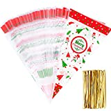 Whaline 100 Pieces Christmas Cello Cone Bag Clear Cello Bag Popcorn Bag with 100 Gold Twist Ties for Christmas...