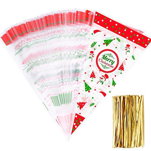 Whaline 100 Stück Weihnachtssüten transparent Kegel Beutel Popcorn Beutel mit 100 goldfarbenen Drehbändern für Weihnachten, Partys, Süßigkeiten, Geschenke und Festivals Gastgeschenke