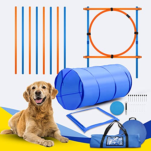 Dog Agility Training Equipment Set Obstacle Course Training...