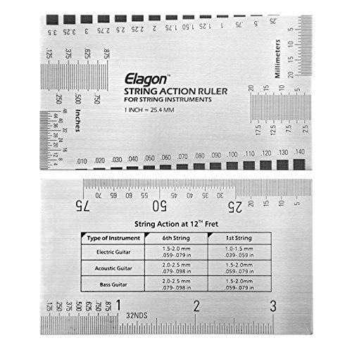Elagon (ARL) Guitarra Pro Care Kit accesorio regla medidora de acción de las cuerdas. Regla metálica de bolsillo que se usa para medir la configuración de algunos aspectos de la guitarra y las cuerdas para que tanto la disposición como el manejo sean los adecuados. Es la herramienta perfecta para que la configuración de la guitarra se ajuste a tus preferencias personales. Es fácil de usar, estés preparando la guitarra por primera vez o seas un experto en configuración de instrumentos.