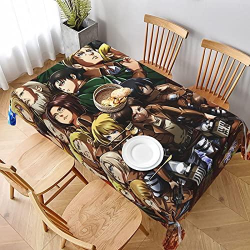 Mantel de anime Attack on Titan lavable y reutilizable, suave, impermeable y práctico mantel decorativo para mesas de café de comedor
