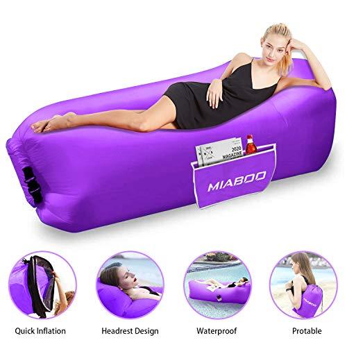 MIABOO Aufblasbare Sofa,Wasserdichtes Aufblasbares Air Lounger mit Tragebeutel, zum Schlafen im Freien, im Innenbereich, zum Zurücklehnen und Entspannen Aufblasbarer Sitzsack mit Picknickdecke (Lila)