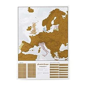 Maps International - Mapa rascable, edición europea, cartografía detallada al máximo - 59 x 84 cm
