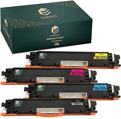 EMBRIIO 4X 126A CE310A-CE313A Cartucho Tóner Reemplazo para HP Laserjet Pro CP1025 CP1025nw CP1020 100 MFP M175 M175a M175nw | HP TopShot Laserjet Pro M275 M275nw