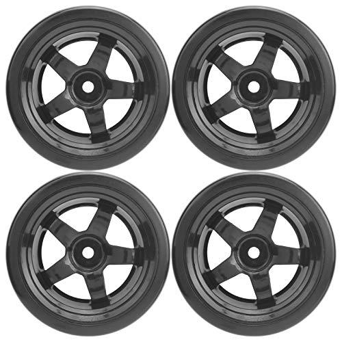 Aoutecen 4 Piezas RC Drift Tire Smooth & Rims 1 10 Scale RC Wheels Black Durable RC Tire Accesorio de Repuesto con Ruedas de plástico Neumáticos de Goma para RC Car Truck