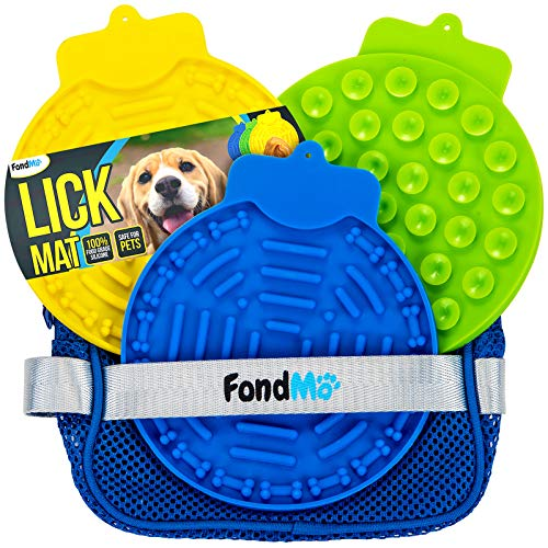 FondMO Lick Mat for Dogs, 3pcs Dog Lick Mats with A Storage Bag, Dog Peanut Butter Lick Pad, Bath and Shower, Dog Licking Mat with Suction, Lick Mats for Dogs Large and Small, Dog Anxiety Relief