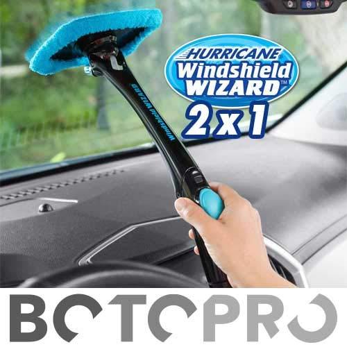 BOTOPRO - Hurricane Windshield Wizard (2x1), el Kit Limpiador de Parabrisas de Coches y Todo Tipo de Cristales, con Microfibra y dispensador de Agua Incorporado - Anunciado en TV