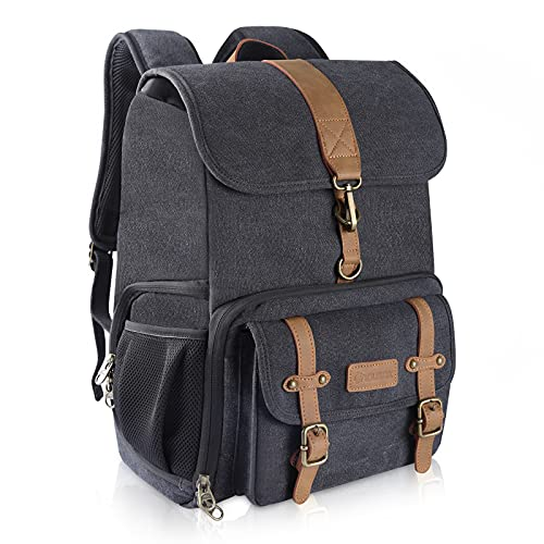 Endurax Canvas Camera Backpack Bag for Photographers DSLR Backpacks fit up to 15.6' Laptop Rain Cover Included