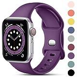 CeMiKa Compatible con Apple Watch Correa 38mm 42mm 40mm 44mm, Deportivas de Silicona Correas de Repuesto Compatible con iWatch SE Series 6 5 4 3 2 1, 38mm/40mm-S/M, Ciruela