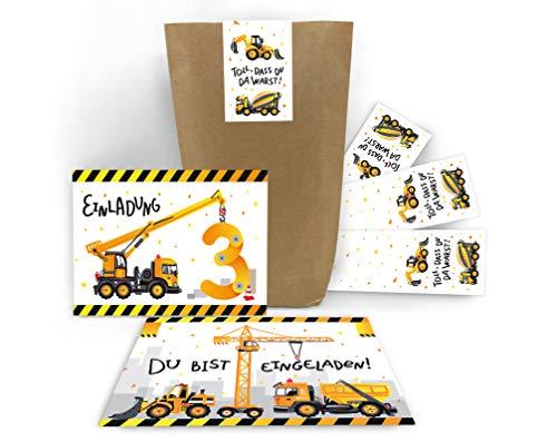 12 Einladungskarten zum 3. dritten Kindergeburtstag Jungen Baustelle Bagger incl. 12 Umschläge, 12 Tüten, 12 Aufkleber