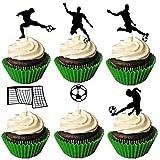 Amosfun 24 UNIDS Fútbol Cupcake Toppers Sports Cake Toppers Cumpleaños Jugar Football Cake Topper Comida Frutas Pastel Selecciones para cumpleaños Juego Mundial Deportes Suministros para Fiestas