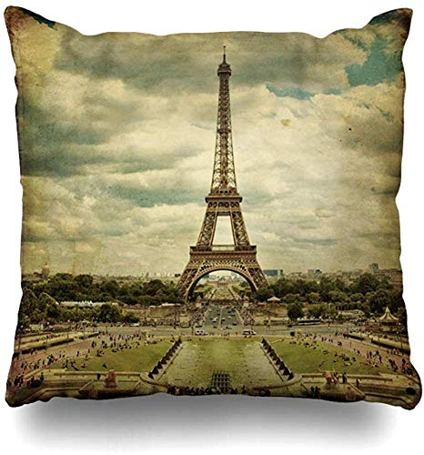 Throw Pillow Cover Tower Green Built Eiffel Paris Vintage Travel Europe Famosas Fuentes Francia Garden Design World Funda de cojín para el hogar Square Zipper D 18×18pulgada