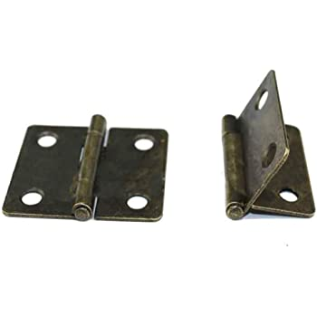 Open Length:1-3//8 Width:1-1//2 10 PCS Folding Butt Hinges Antique Bronze Hinge Vintage Hardware with Screws for Doors Windows Cabinet Cupboard Wardrobe Wooden Boxes Jewelry Case Chest Small Size