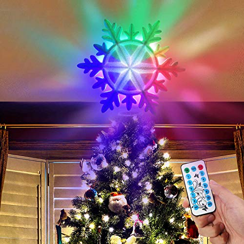 AerWo Lighted Christmas Tree Topper, LED White Snowflake Tree Topper with 11 Light Modes, Remote Control,4H/6H Timer, IP44 Waterproof, Glitter Light Up Xmas Tree Topper for Christmas Tree Decorations