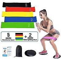 tmtonmoon Resistencia Bandas Elasticas y Dual Sided Sliders, Ligeras y Portátiles, Fitness/Crossfit/Pilates/Fuerza Fisioterapia Movilidad Recuperación, Unisex-Adult, 5 Color, One Size