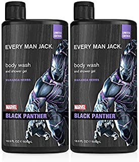 Every Man Jack Body Wash - Marvel Black Panther | 16.9-ounce Twin Pack - 2 Bottles Included | Naturally Derived, Parabens-...