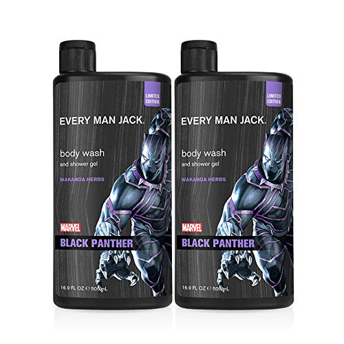 Every Man Jack Body Wash - Marvel Black Panther | 16.9-ounce Twin Pack - 2 Bottles Included | Naturally Derived, Parabens-free, Pthalate-free, Dye-free, and Certified Cruelty Free