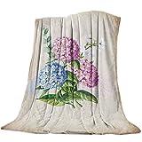 Manta de Franela para sofá Cama Primavera Acuarela Hydrangea Bloom Vintage Suave y acogedora Manta Ligera para Adultos / niños