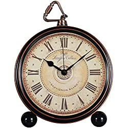 JUSTUP Retro Table Clocks,5.2 in Classic European Style Vintage Non-Ticking Silent Desk Alarm Clock with Quartz Movement Battery Operated,HD Glass Lens for Kitchen Indoor Decor,Easy to Read (Roman)