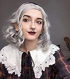 FESHFEN Pelucas Bob Cortas Pelo Onduladas Gris, 36 cm Short Bob Wig Cosplay Parte Halloween Pelucas Mujer Niña Peluca Sintética Curly Wavy Wigs
