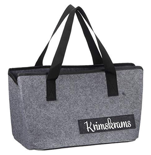 Filztasche mit lustigen Sprüchen für Kaminholz Einkaufstasche Zeitungskorb Shopper aus Filz faltbar Kaminholztasche Filzkorb (Krims Krams)